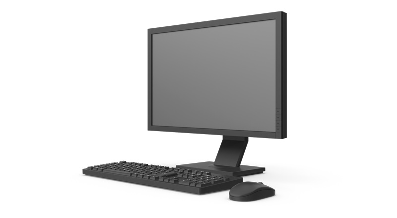 Computer screen and keyboard